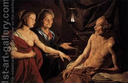Sarah Leading Hagar to Abraham by Matthias Stomer - Reproduction Oil Painting