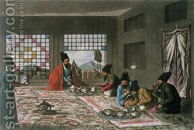 A Persian Breakfast from A Second Journey through Persia 1810-16 by (after) Morier, James Justinian - Reproduction Oil Painting