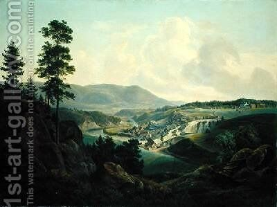 Saw Mill in Norway 1827 by Christian Morgenstern - Reproduction Oil Painting