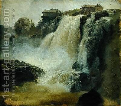 Haugfoss in Norway 1827 by Christian Morgenstern - Reproduction Oil Painting