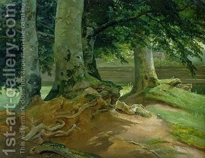 Beech Trees in Frederiksdal near Copenhagen 1828 by Christian Morgenstern - Reproduction Oil Painting