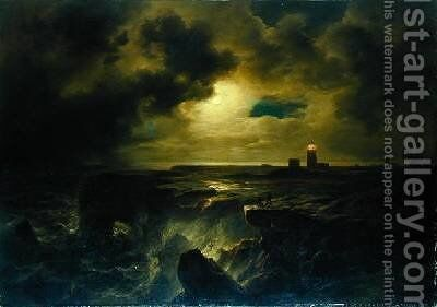 Helgoland in Moonlight 1851 by Christian Morgenstern - Reproduction Oil Painting
