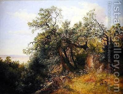 In the Ariccia Park by Carl Morgenstern - Reproduction Oil Painting