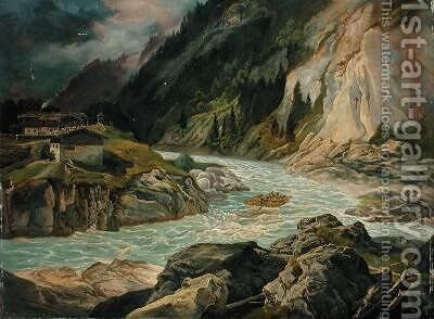 Rapids on the River Isar 1830 by Carl Morgenstern - Reproduction Oil Painting