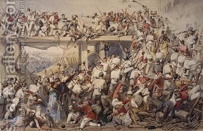 "Storming of the Kashmire Gate Dehli 14th September 1857 by Matthew ""Matt"" Somerville Morgan - Reproduction Oil Painting"