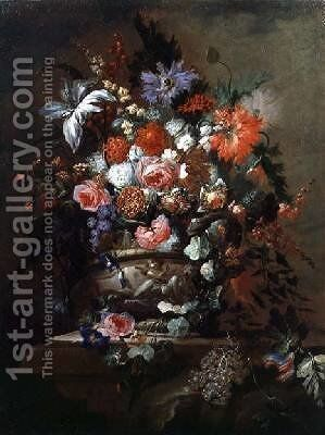 Still life of Flowers and Grapes by Jean-Baptiste Morel - Reproduction Oil Painting