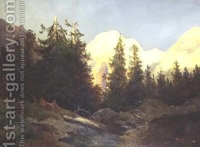 Sunset in South Tyrol by Charles Morel - Reproduction Oil Painting