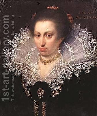 Portrait of a Lady Wearing a High Lace Collar 1602 by (studio of) Moreelse, Paulus - Reproduction Oil Painting