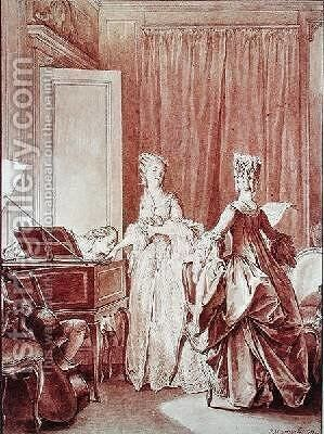 The Harpsichord by Jean-Michel Moreau - Reproduction Oil Painting