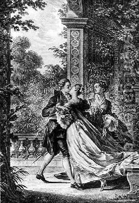 St Preux and Julie Embracing by Jean-Michel Moreau - Reproduction Oil Painting