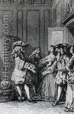 Illustration from LImpromptu de Versailles by Jean-Michel Moreau - Reproduction Oil Painting