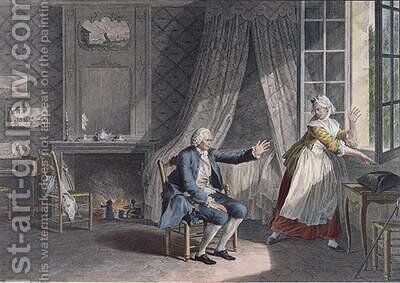 The Last Words of Jean-Jacques Rousseau 1712-78 at Ermenonville in 1778 by Jean-Michel Moreau - Reproduction Oil Painting