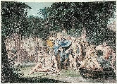 Arrival of Jean-Jacques Rousseau 1712-78 in the Elysian Fields 1782 by Jean-Michel Moreau - Reproduction Oil Painting