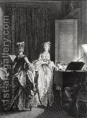 The Harpsichord illustration from La Nouvelle-Heloise by Jean-Michel Moreau - Reproduction Oil Painting