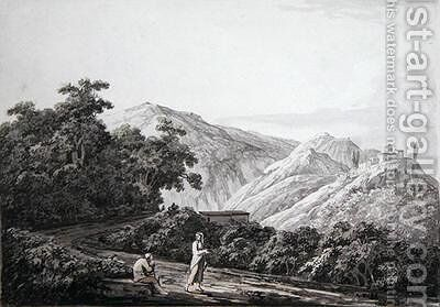View near the Mill looking toward Licenza Horaces Villa on the left 1783 by Jacob More - Reproduction Oil Painting