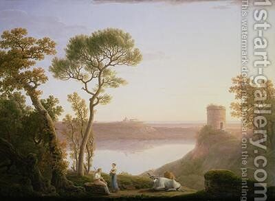Lake Albano with Castel Gandolfo 1787 by Jacob More - Reproduction Oil Painting