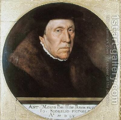 Jan van Scorel 1495-1562 by Anthonis Mor Van Dashorst - Reproduction Oil Painting
