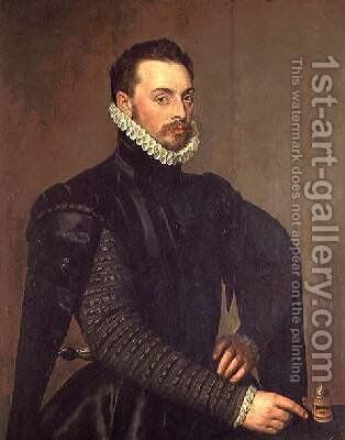 Portrait of a Man from the Retinue of Cardinal Granvelle by Anthonis Mor Van Dashorst - Reproduction Oil Painting