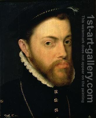Portrait of Philip II of Spain 1527-98 by Anthonis Mor Van Dashorst - Reproduction Oil Painting