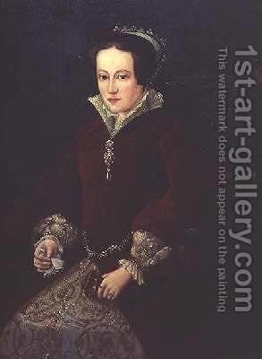 Portrait of Queen Mary I of England by (after) Mor, Sir Anthonis (Antonio Moro) - Reproduction Oil Painting