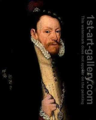 Thomas Radcliffe 3rd Earl of Sussex 1526-83 by (after) Mor, Sir Anthonis (Antonio Moro) - Reproduction Oil Painting