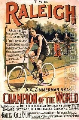 Poster advertising cycles Raleigh by T. Moore - Reproduction Oil Painting