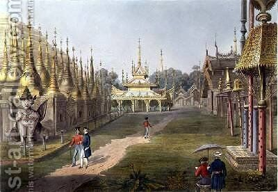 Scene upon the Terrace of the Great Dagon Pagoda at Rangoon Looking Towards the North by (after) Moore, Joseph - Reproduction Oil Painting