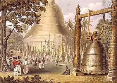 Scene upon the Terrace of the Great Dagon Pagoda at Rangoon by (after) Moore, Joseph - Reproduction Oil Painting