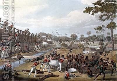 Rangoon The Storming of one of the Principal Stockades on July 8th 1824 by (after) Moore, Joseph - Reproduction Oil Painting