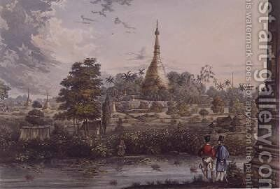 View of the Great Dagon Pagoda at Rangoon from the West by (after) Moore, Joseph - Reproduction Oil Painting