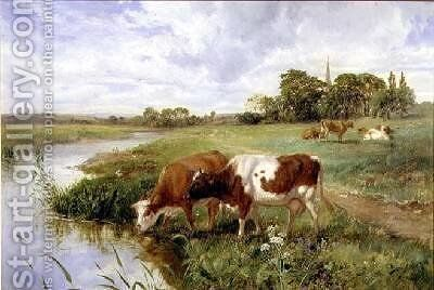 Landscape with cows by a river 1857 by Henry Moore - Reproduction Oil Painting