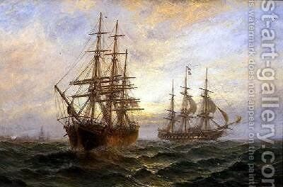 Two Ships Passing at Sunset by Claude T. Stanfield Moore - Reproduction Oil Painting