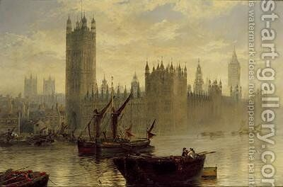 Westminster from the Thames by Claude T. Stanfield Moore - Reproduction Oil Painting