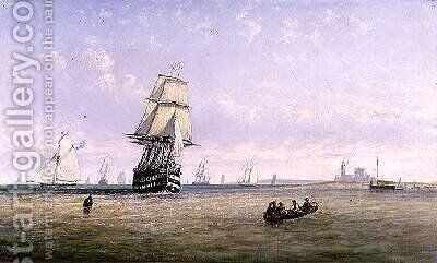Men-o-War Schooners and Royal Navy Yachts in Busy Channel Scene off the Fastnet Light by Claude T. Stanfield Moore - Reproduction Oil Painting