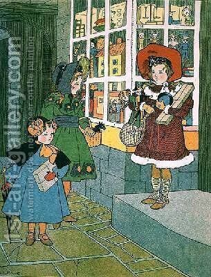 A Visit to the Toyshop page from an illustrated childrens book by A. E. Moore - Reproduction Oil Painting