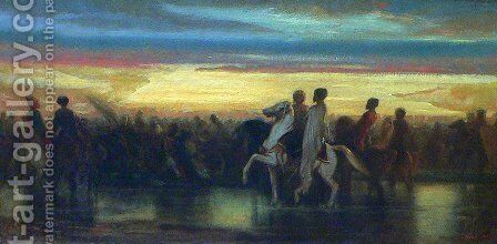 Le passage du gué (The Crossing of the Ford) by Alexandre Gabriel Decamps - Reproduction Oil Painting