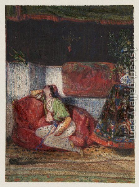 Young Oriental woman in an interior by Alexandre Gabriel Decamps - Reproduction Oil Painting