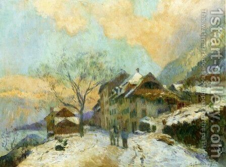 The Banks of Lake Geneva at Saint-Gingolph, in winter, with Snowy Weather by Albert Lebourg - Reproduction Oil Painting