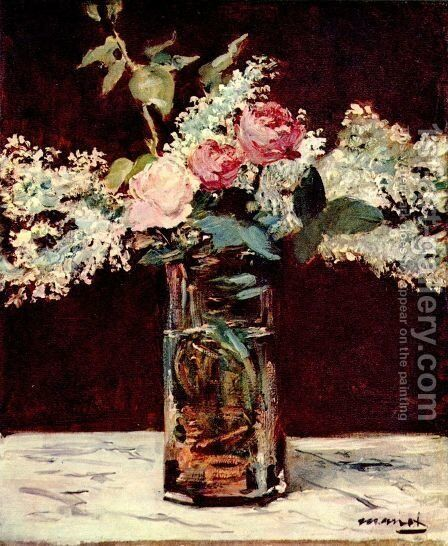 Roses et Lilas 1883 by Edouard Manet - Reproduction Oil Painting