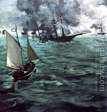 The Battle of the Kearsarge and Alabama by Edouard Manet - Reproduction Oil Painting