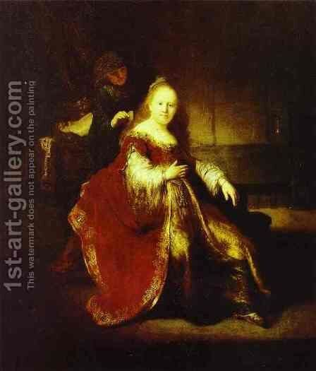 Esther Preparing to Intercede with Assuerus by Rembrandt - Reproduction Oil Painting
