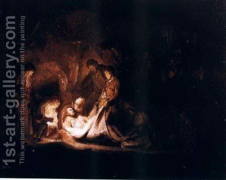 Mise Au Tombeau,glasgow 1635 by Rembrandt - Reproduction Oil Painting