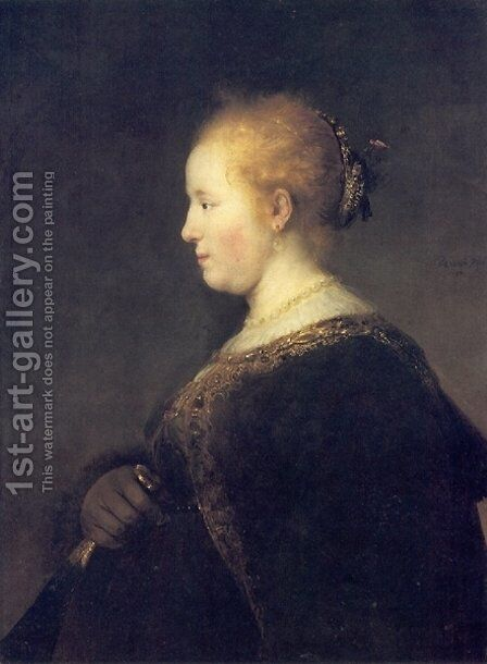 Portrait of a Young Woman with the Fan by Rembrandt - Reproduction Oil Painting