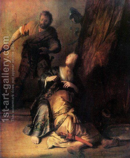 Samson Betrayed by Delilah by Rembrandt - Reproduction Oil Painting
