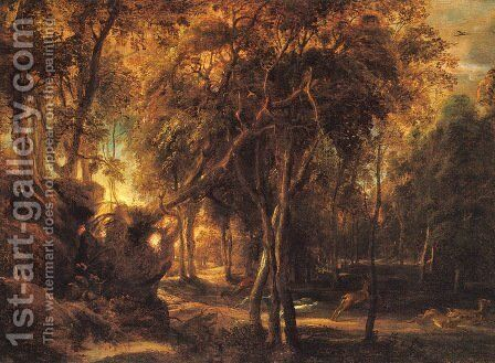 A Forest at Dawn with Deer Hunt by Rubens - Reproduction Oil Painting