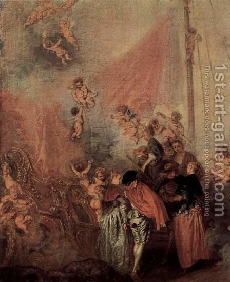 The Embarkation of Cythera (detail 5) by Jean-Antoine Watteau - Reproduction Oil Painting