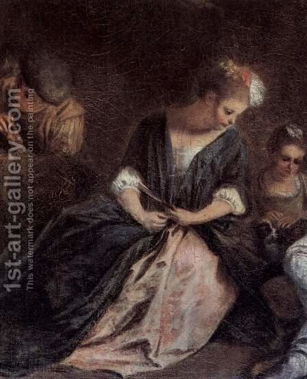 The pastime of the Italian Komoedianten (detail) by Jean-Antoine Watteau - Reproduction Oil Painting
