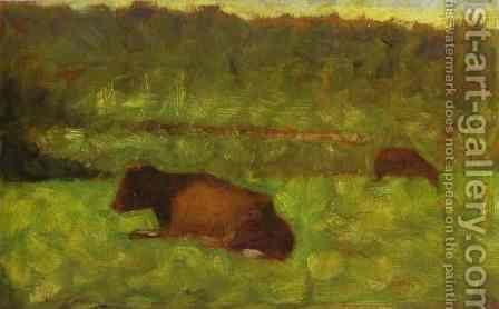 Cows in a Field by Georges Seurat - Reproduction Oil Painting