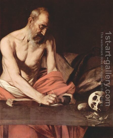 St Jerome 1607 (detail) by Caravaggio - Reproduction Oil Painting