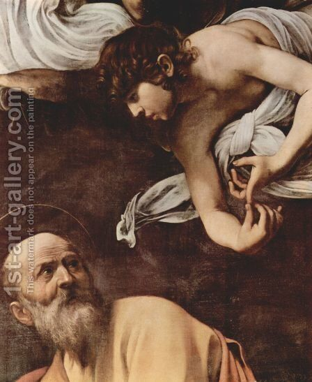 The Inspiration Of Saint Matthew (detail) by Caravaggio - Reproduction Oil Painting